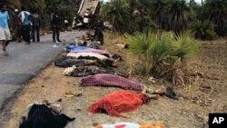 지난 5월 마오주의 반군이 매설한 지뢰로 폭발한 버스 사고 희생자들. (자료 사진)
