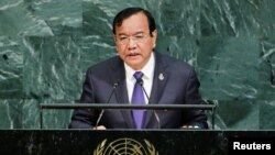 FILE - Cambodian Foreign Minister Prak Sokhon addresses the 72nd U.N. General Assembly at U.N. headquarters in New York, Sept. 22, 2017.