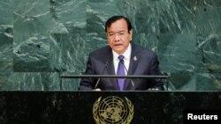Menteri Luar Negeri Prak Sokhon berbicara dalam Sidang Umum PBB ke 72