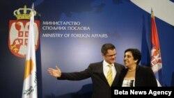 Šef diplomatije Srbije Vuk Jeremić i kiparska ministarka spoljnih poslova Erato Kozaku Markulis na sastanku u Beogradu