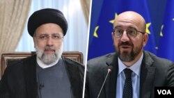 شارل میشل رئیس شورای اروپا (راست) و ابراهیم رئیسی رئیس جمهوری ایران
