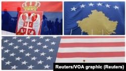 Zastave Srbije, Kosova i Sjedinjenih Država (Foto: Reuters)