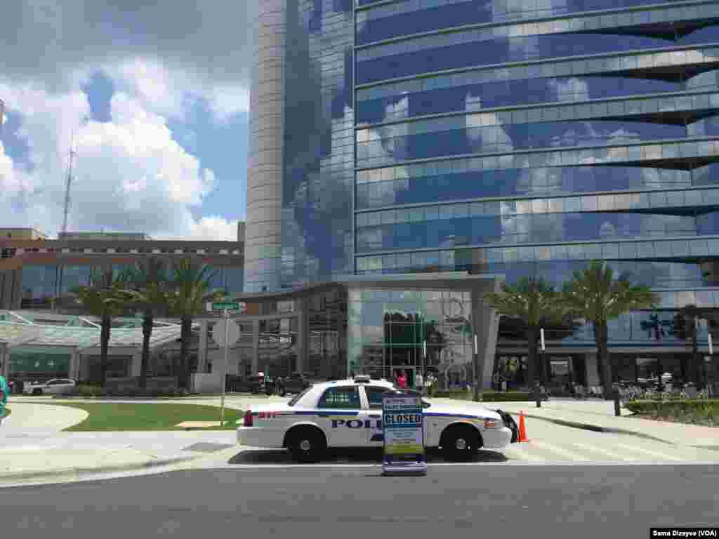 Police guard outside the Orlando Regional Medical Center hospital after a fatal mass shooting at the nearby Pulse Orlando nightclub in Orlando, Fla., June 14, 2016.