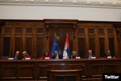 Kopredsedavajuća Parlamentarnog odbora za stabilizaciju i prodruživanje Evropska unija - Srbija Tanja Fajon u poseti Skupštini Srbije, u Beogradu, 30. oktobra 2019. (Foto: Tviter nalog Tanje Fajon)