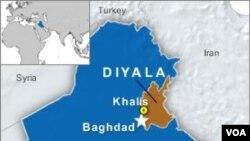 Peta propinsi Diyala, Irak.