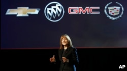 Incoming General Motors CEO Mary Barra introduces the 2015 GMC Canyon at media previews for the North American International Auto Show on Jan. 12, 2014, in Detroit.