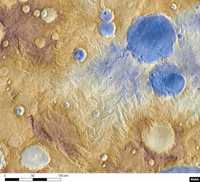 Water-carved valleys on Mars appear to have been caused by runoff from precipitation, likely meltwater from snow. Early Martian precipitation would have fallen on mountainsides and crater rims.