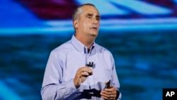 FILE - Intel CEO Brian Krzanich delivers a keynote speech at CES International, Jan. 8, 2018, in Las Vegas.