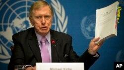 聯合國北韓人權調查委員會主席邁克爾‧科比2月17日出示該報告。