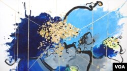 """تابلوی """"بعد آبی و طلایی"""" از سایه بهنام"""