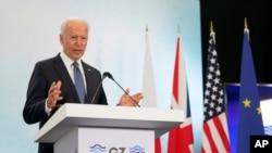 조 바이든 미국 대통령이 지난 6월 영국에서 열린 주요7개국(G7) 정상회의에서 기자회견하고 있다. (자료사진)