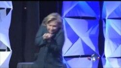克林顿夫人演讲时遭女子丢鞋