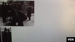 1989年拍摄的一张照片在俄国互联网广泛传播,照片显示酷似普京的克格勃军官指挥逮捕参加示威的持不同政见者。(美国之音白桦拍摄)