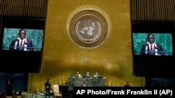Zimbabwe President Emmerson Mnangagwa at United Nations General Assembly