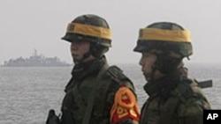 연평도에 주둔하고 있는 한국 해군