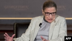 FILE - Supreme Court Justice Ruth Bader Ginsburg speaks at Georgetown University in Washington, April 27, 2017.
