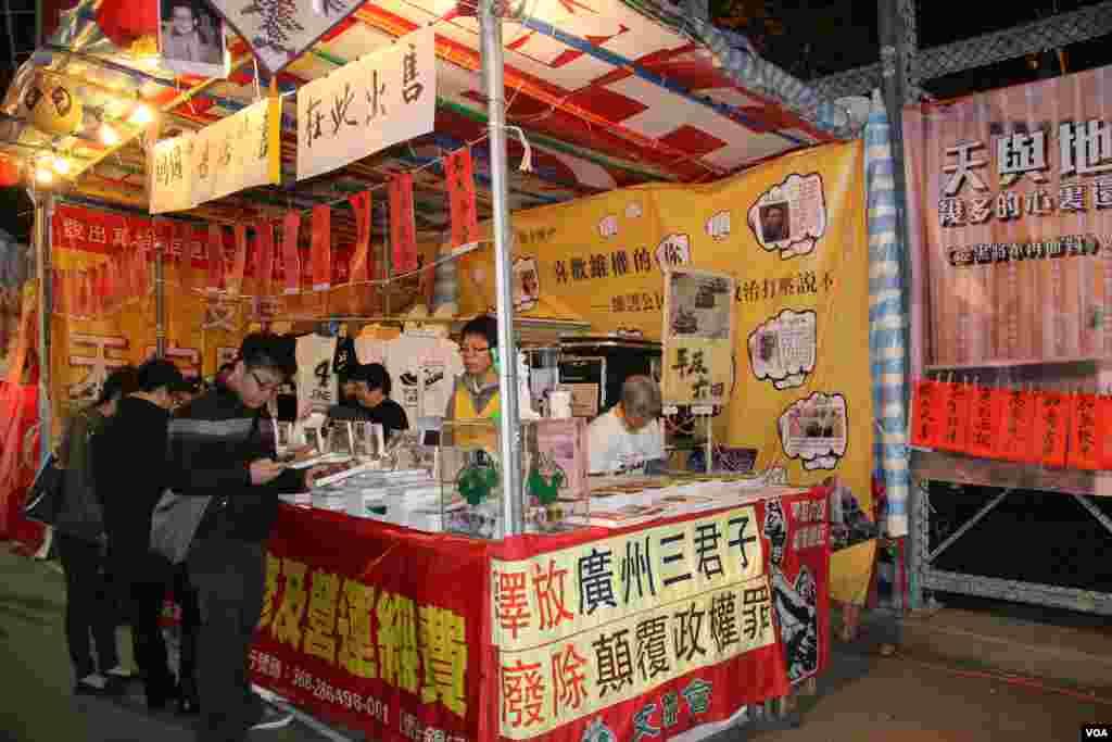 香港泛民及建制政党和团体在年宵花市摆摊宣传(美国之音海彦拍摄)
