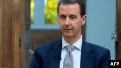 2017年4月12日,叙利亚总统阿萨德在大马士革接受法新社采访。