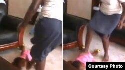 Mtumishi wa nyumbani Tumuhiirwe akimkanyaka mtoto mdogo Kampala