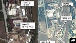 미국의 안보관련 민간연구소인 국제과학안보연구소(ISIS)가 18일 공개한 지난 4일 영변 핵시설 주변시설의 인공위성 사진(오른쪽). 지난 9월말(왼쪽) 굴착작업이 진행되던 상황보다 공사가 상당히 진척됐음을 보여준다.
