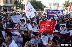 参加亲政府集会的伊朗人。(2018年1月3日)
