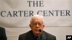 Former U.S. President Jimmy Carter addresses a press conference, in Katmandu, Monday, April 1, 2013. Carter said that his Carter Center will observe the elections for Constituent Assembly in Nepal planned for later this year. (AP Photo/Niranjan Shrestha)