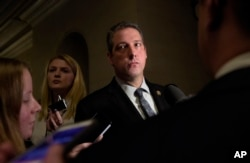 Rep. Tim Ryan speaks to reporters following the House Democratic Caucus elections for House leadership positions, on Capitol Hill in Washington, Nov. 30, 2016. Ryan challenged House Minority Leader Nancy Pelosi of California, but lost, 134-63.
