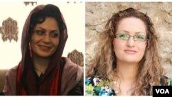 از راست: مریم(نسیم) نقاش زرگران و بهاره هدایت