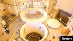 The nuclear water reactor of Arak, south of capital Tehran, is seen in a handout picture released by Iran's Atomic Energy Organization.