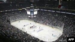 Хоккейная арена перед матчем Columbus Blue Jackets и Detroit Red Wings в первом раунде плей-офф 2009 г.