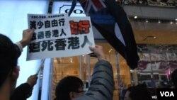香港要求減少大陸自由行旅客的示威 (資料照片)