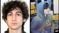 左图为FBI提供的焦哈尔相片,右图为波士顿地区情报中心提供的焦哈尔相片。(2013年4月19日)