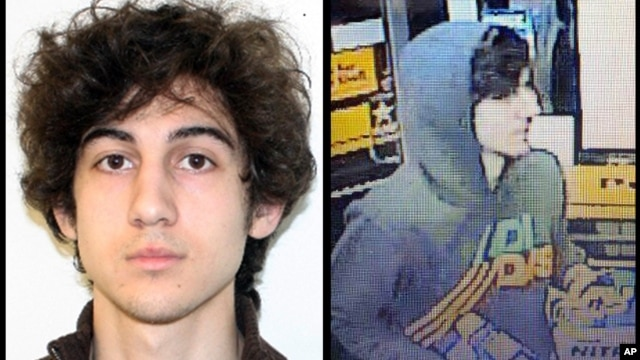 This combination of photos provided on April 19, 2013 by the FBI shows a suspect that officials have identified as Dzhokhar Tsarnaev, being sought by police in connection with the Boston Marathon bombings.