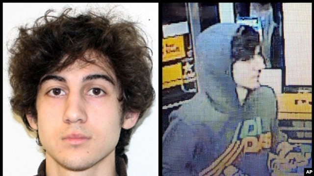 FILE - Dzhokhar Tsarnaev is seen in a combination of photos provided on April 19, 2013 by the FBI, left, and the Boston Regional Intelligence Center, right.