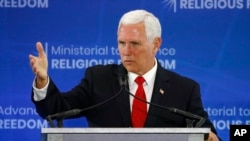 آقای پنس روز پنجشنبه در نشست وزرا برای پیشبرد آزادی مذهبی در واشنگتن سخنرانی کرد.