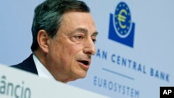 FILE - President of European Central Bank Mario Draghi speaks during a press conference of the ECB in Frankfurt, Germany, April 15, 2015.