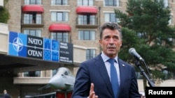 NATO Secretary-General Anders Fogh Rasmussen speaks to the media in Newport, Wales, Sept. 4, 2014.