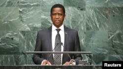 "FILE - Zambian President Edgar Lungu, shown speaking at the United Nations in September 2015, ""has been enjoying very good health,"" the deputy campaign manager for the ruling Patriotic Front says."