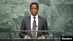 """FILE - Zambian President Edgar Lungu, shown speaking at the United Nations in September 2015, """"has been enjoying very good health,"""" the deputy campaign manager for the ruling Patriotic Front says."""