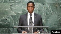 FILE - Zambian President Edgar Lungu speaks before attendees at the U.N. General Assembly in New York, Sept. 29, 2015. Fred Mutesa of Zambians for Empowerment and Development has endorsed Lungu in the August 11 presidential vote.