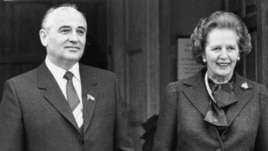 Mikhail Gorbachev, then Soviet Politburo member, with British Prime Minister Margaret Thatcher at Chequers, Buckinghamshire, England, March 11, 1985.