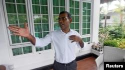 马尔代夫前总统纳希德去年六月正在接受路透社采访