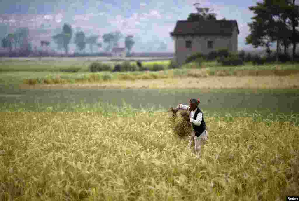 """Farmer na """"radnom mjestu,"""" u polju u blizini Lalitpura, Nepal."""
