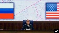 El embajador ruso en Estados Unidos Anatoly Antonov durante una conferencia de prensa en Moscú, en el 2016, cuando era ministro de defensa.