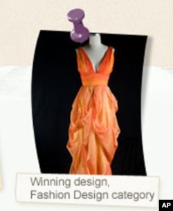 Arianna's winning entry in the design category was an autumn-themed evening gown.