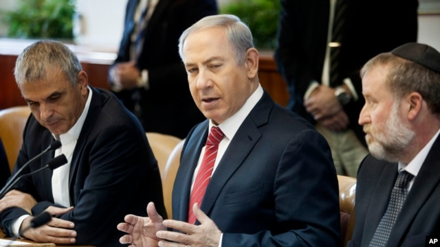 Israeli Prime Minister Benjamin Netanyahu speaks during the weekly cabinet meeting in Jerusalem, Dec. 27, 2015. The Wall Street Journal reported on Dec. 29 that U.S. while pursuing a landmark nuclear arms deal with Iran, captured communications between Netanyahu and his aides.