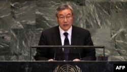28일 유엔총회 기조연설에서 일본군 위안부 문제를 제기하는 한국의 김성환 외교통상부 장관