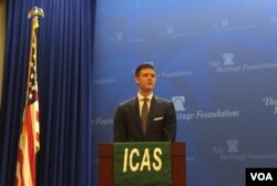 美国进步中心高级研究员亚当·芒特(Adam Mount)出席华盛顿一次有关朝鲜问题的研讨会(美国之音叶林2017年5月19日拍摄)