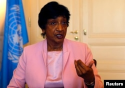 FILE - Navi Pillay talks during an interview to Reuters in her office in Geneva, Aug. 19, 2014.