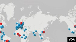 Map showing countries which leading contenders to be pope represent as well as the electors
